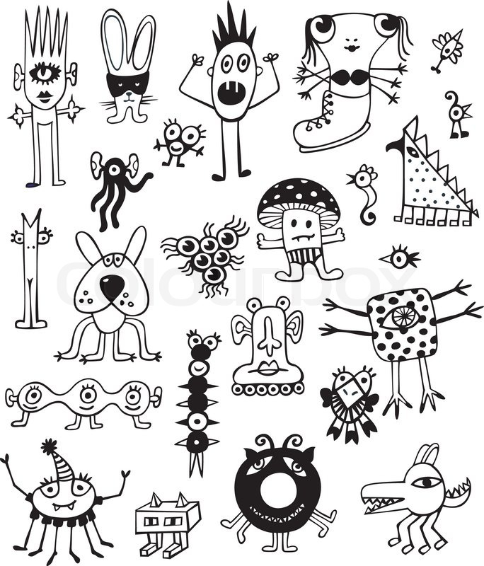 collection of cute unusual monsters on white background hand drawn
