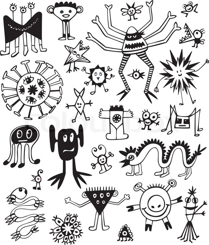 Black And White Cute Monsters Free Download Oasis Dl Co