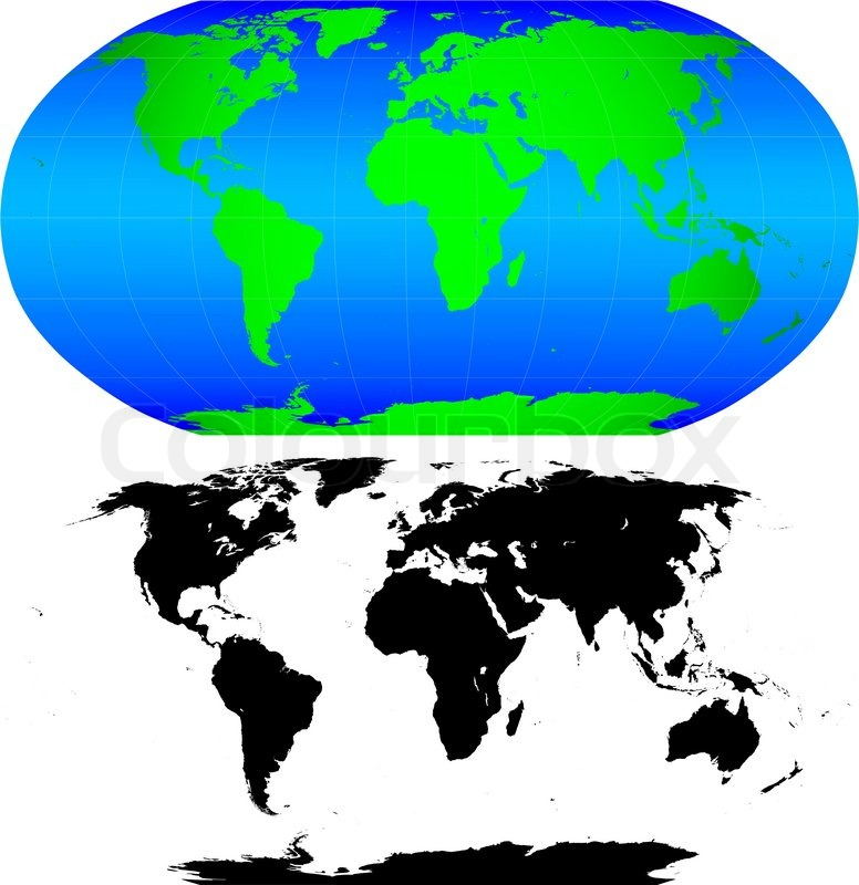 Shape Of The Earth Continents Detailed World Map Silhouette - World map shape
