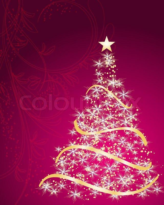 Stylized Vector Gold Christmas Tree Stock Vector Colourbox