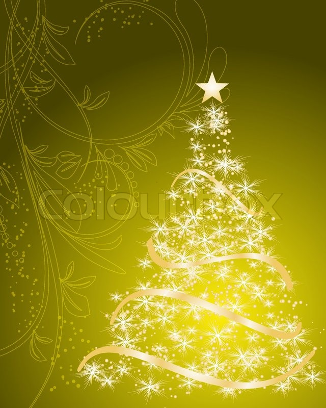 stylized vector gold christmas tree stock vector colourbox