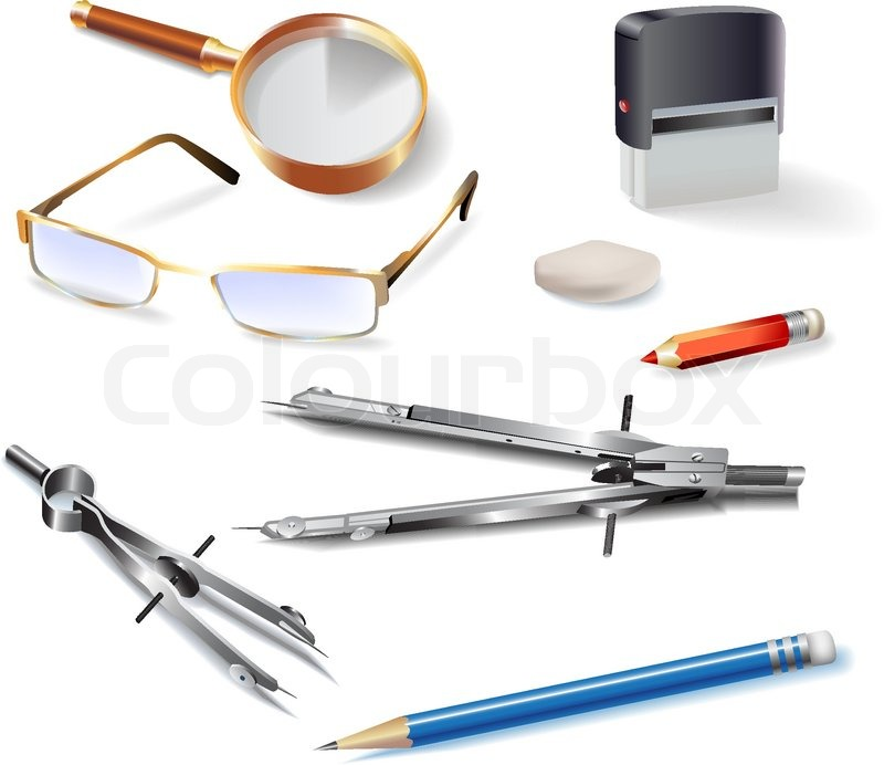 Set Of Architectural Drawing Tools Isolated On White