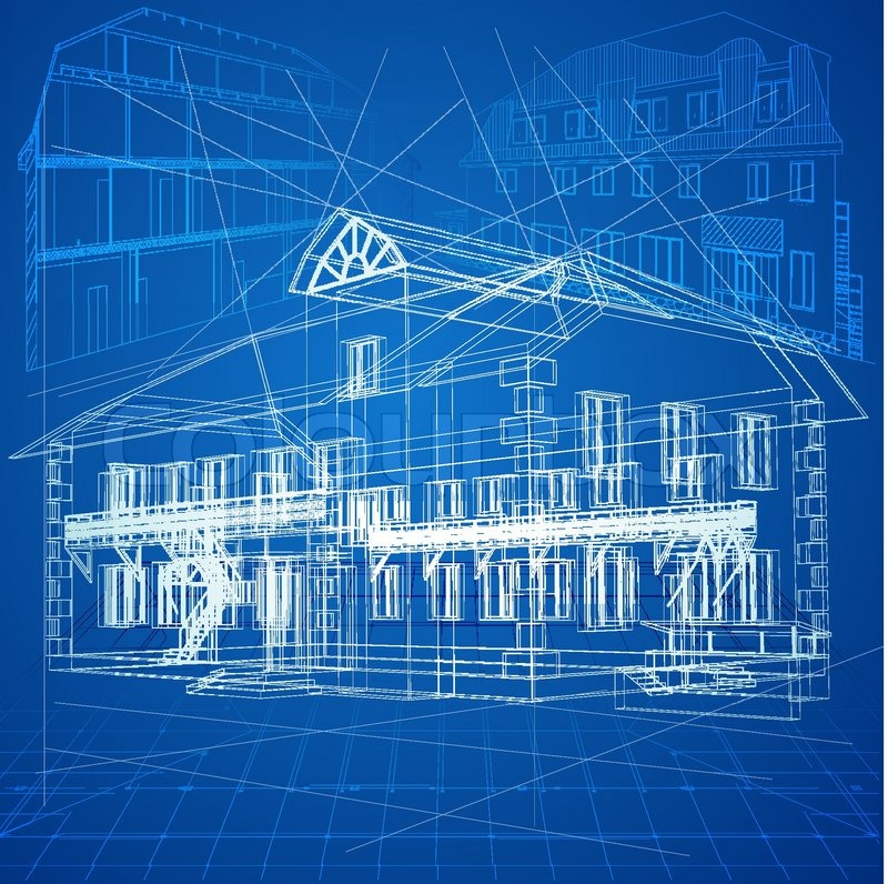 Urban blueprint vector architectural background part for Architecture design blueprint