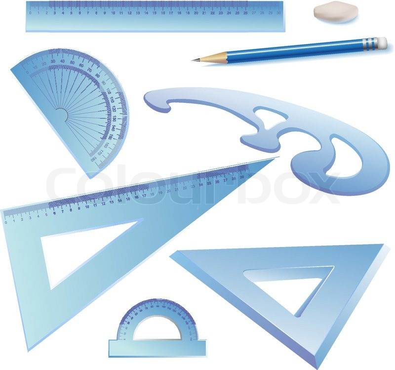 Vector Clip Art Set Of Architectural Drawing Tools Isolated On White