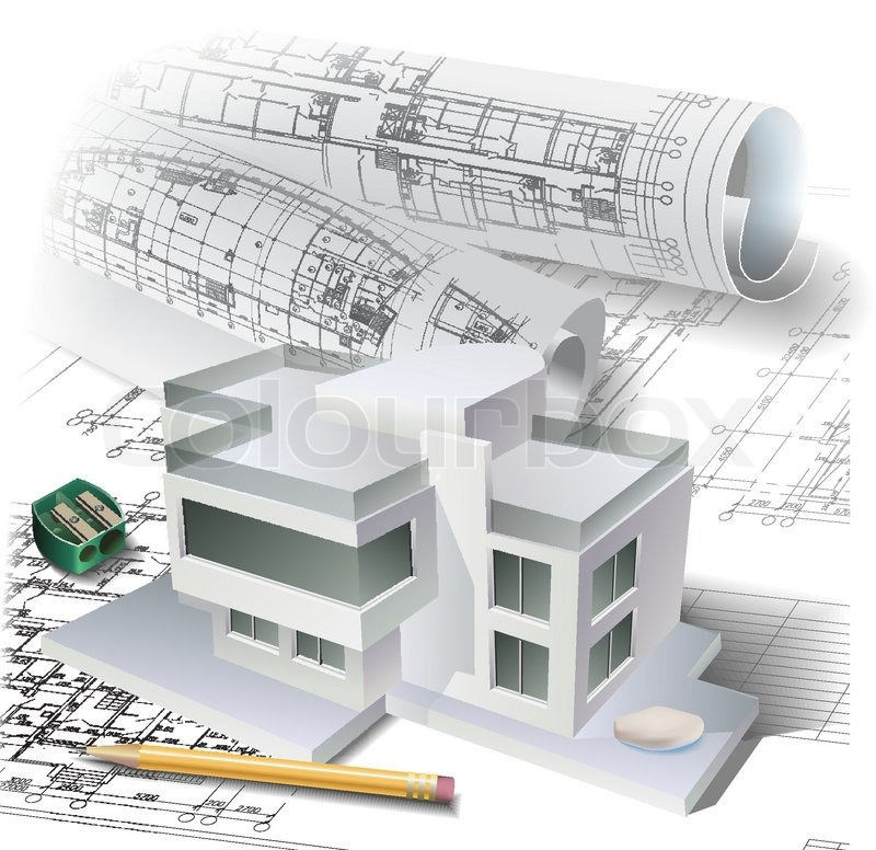 architectural buildings drawings. Architectural Background With A 3D Building Model And Rolls Of Drawings. Vector Clip-art, Buildings Drawings B