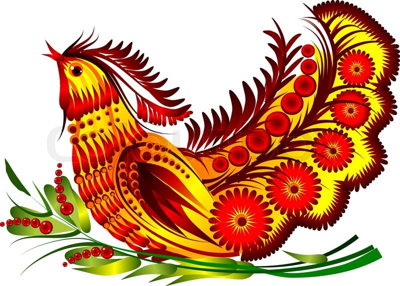 bird on the decorative flowers on the white background vector eps10 vector - Decorative Flowers