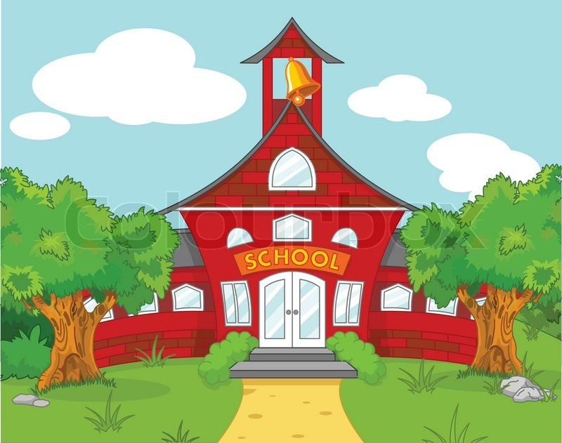 School Landscape Stock Vector Colourbox