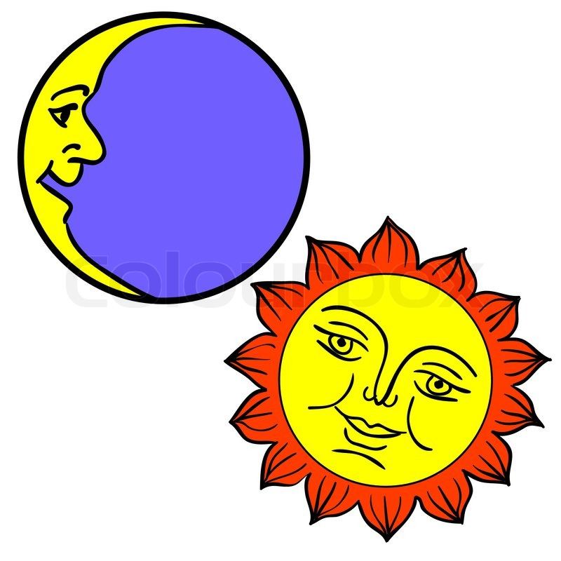 Schwarze Tapete Gl?nzend : Sun and Moon with Face Clip Art