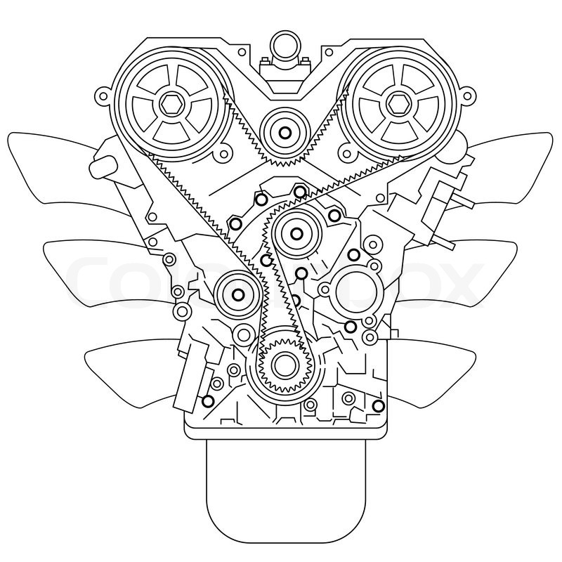 Internal Combustion Engine Stock Vector Colourbox
