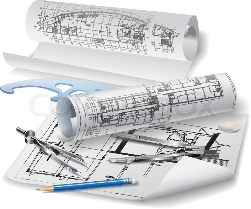 Architectural Background With Drawing Tools And Rolls Of Drawings Vector Clip Art