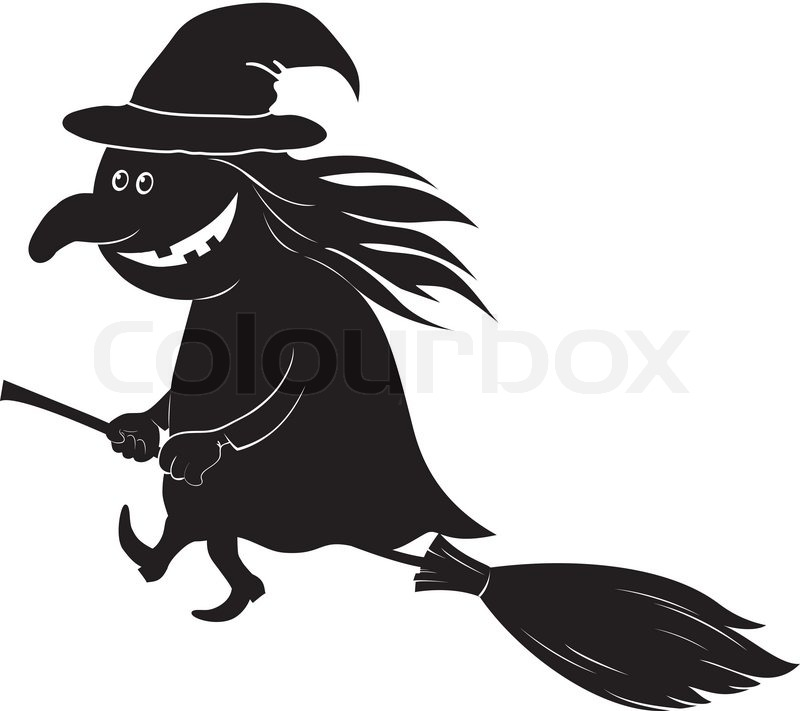 witch flying on broom silhouette stock vector colourbox