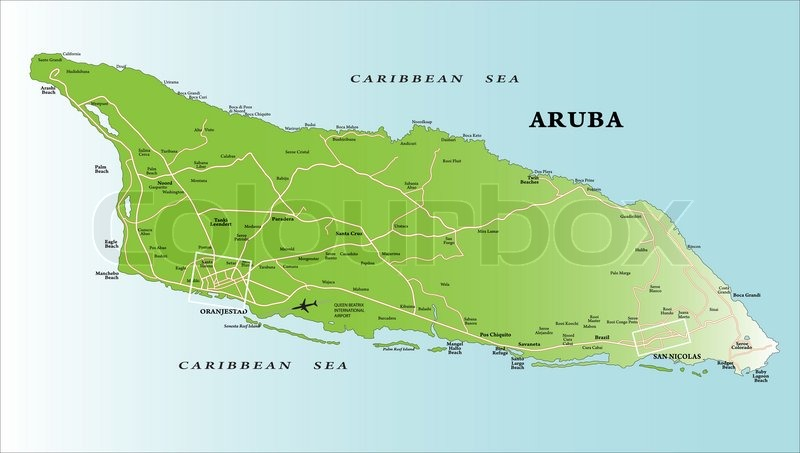 Caribbean Island Of Aruba Map Stock Vector Colourbox - Caribbean map aruba