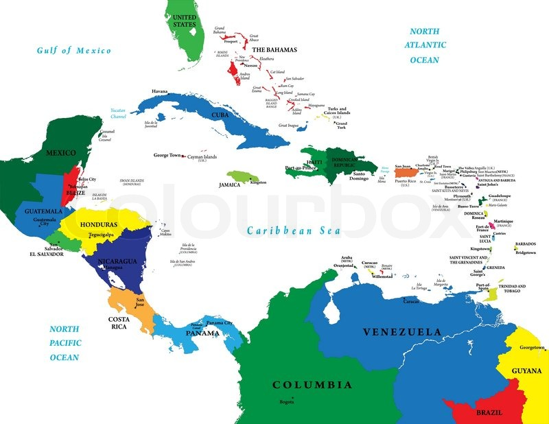 Central America Map Labeled With Capitals