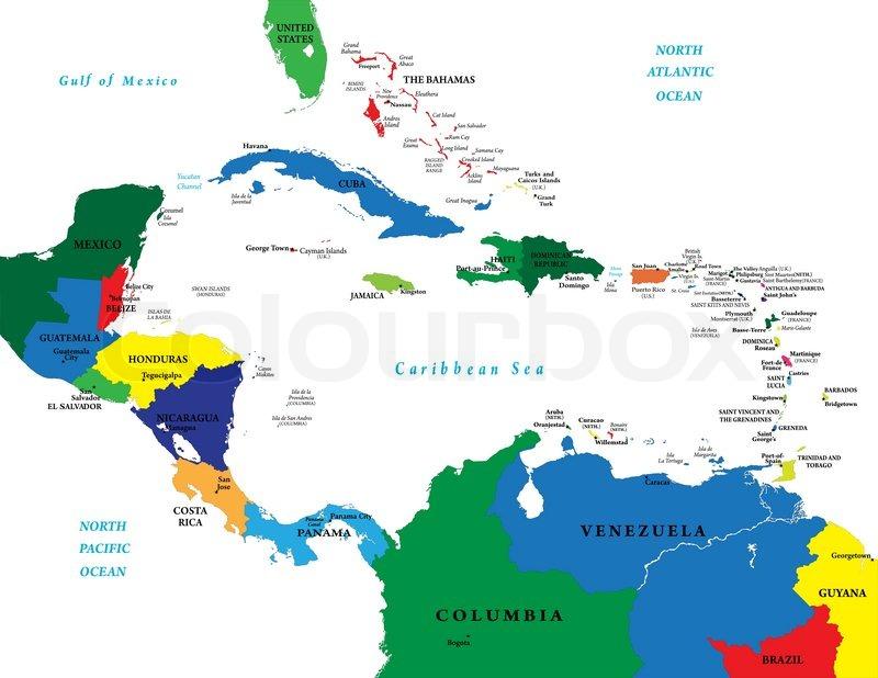 Mittelamerika Und Die Karibik Karte Stock Vektor Colourbox