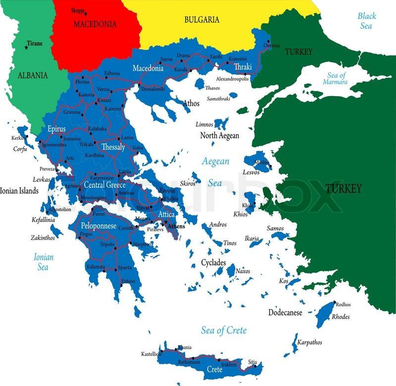 Greece map | Stock Vector | Colourbox