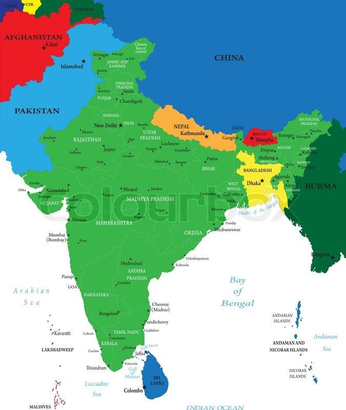 India Political Map Stock Vector Colourbox