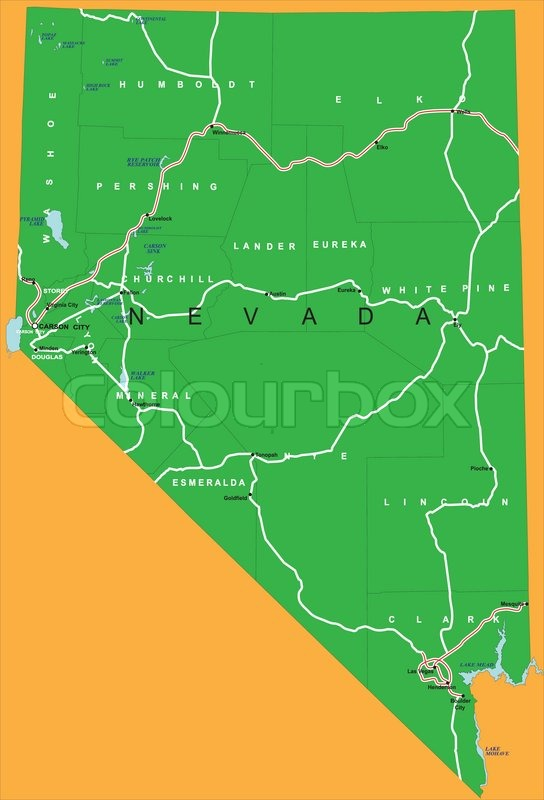 State Of Nevada Map  Vector  Colourbox