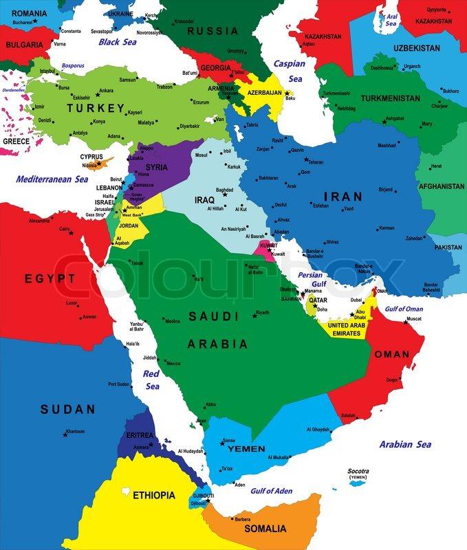 karte mittlerer osten Mittlerer Osten Karte | Vektorgrafik | Colourbox karte mittlerer osten