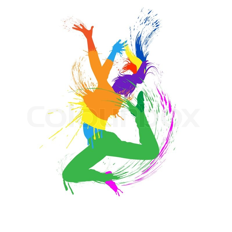 Dancing Girl With Colorful Spots And Splashes On White