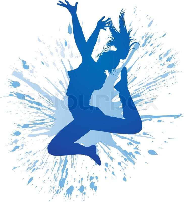 dancing girl with blue spots and splashes on white