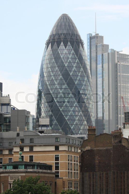 London Gherkin An Unusual Eggshaped Stock Photo Colourbox - London-gherkin-an-unusual-eggshaped-building