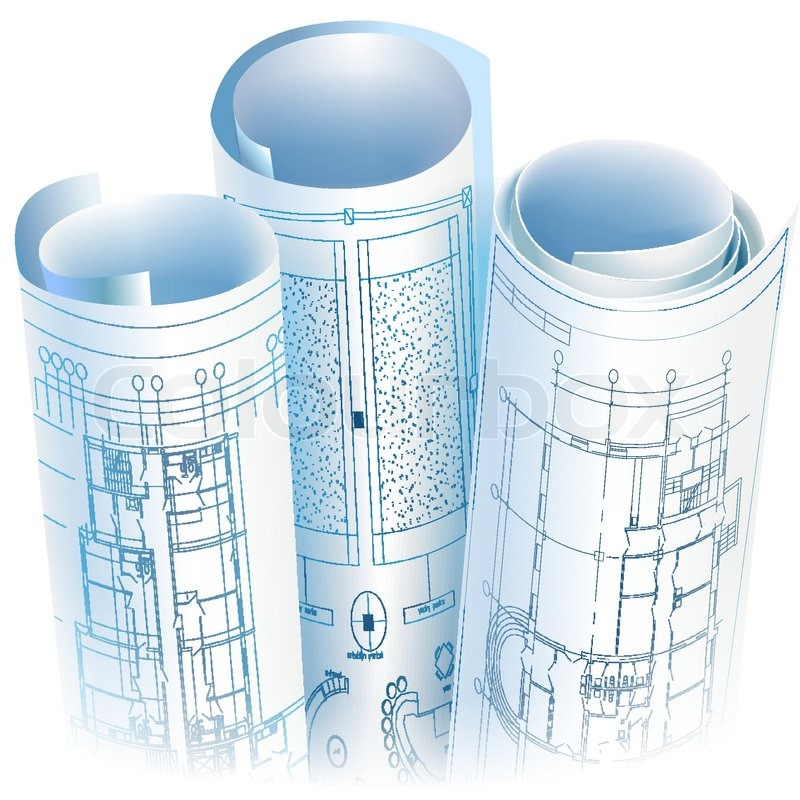 Architectural background with rolls of drawings vector for Printing architectural drawings