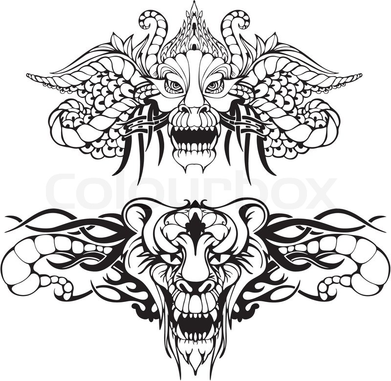 Symmetric animal tattoos stock vector colourbox - Dessin de dragon chinois ...