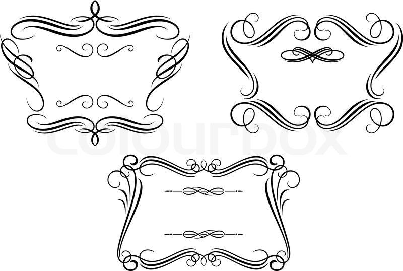 Retro frames with decorative elements | Stock Vector | Colourbox