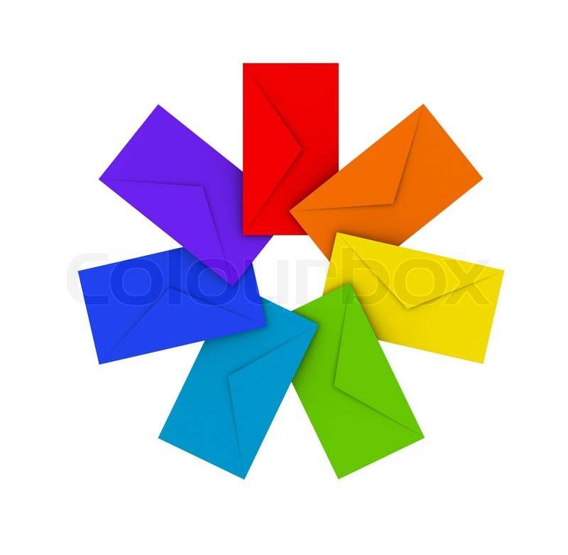 Stock image of 'Round pile of colorful envelopes isolated on white'