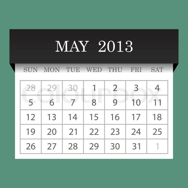 May Calendar Vector : Calendar may stock vector colourbox