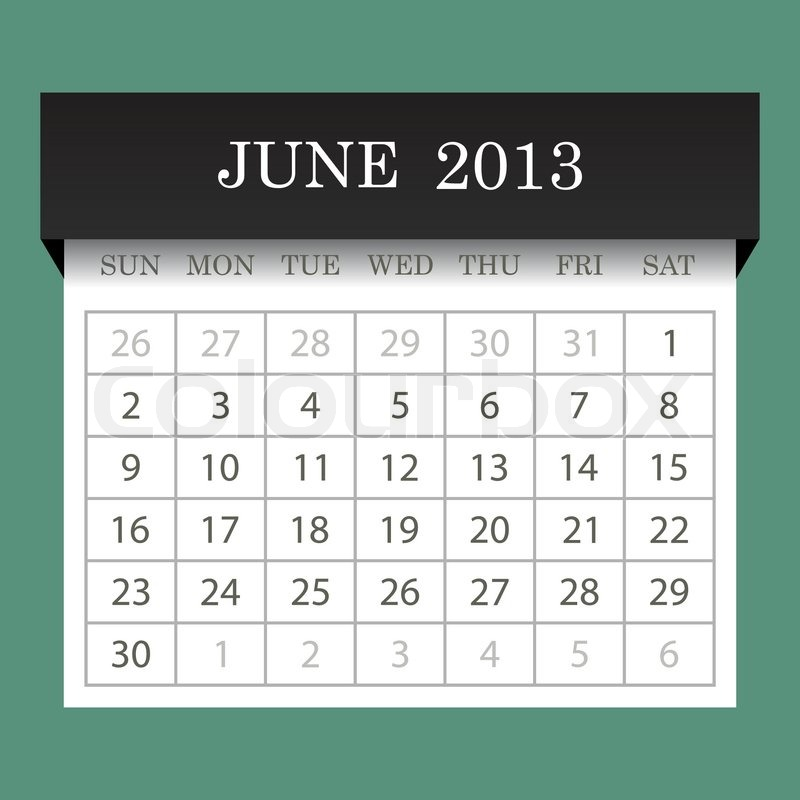 Calendar June 2013 : Calendar june stock vector colourbox