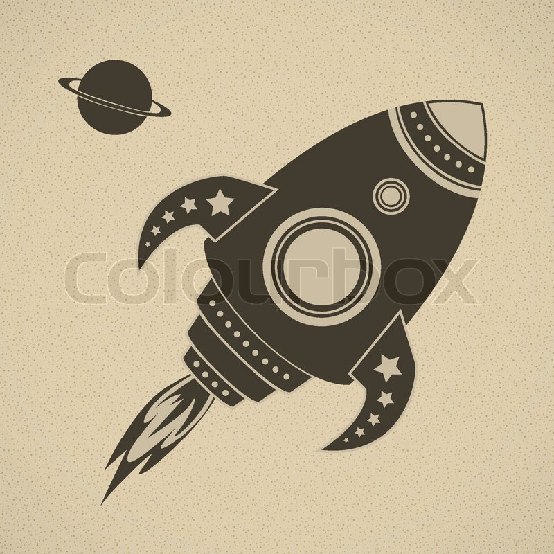 Vintage Vector Rocket In Space