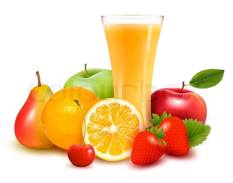fresh fruit and juice illustration stock photo colourbox