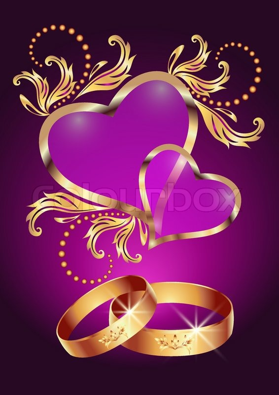 wedding ring and two hearts stock vector colourbox