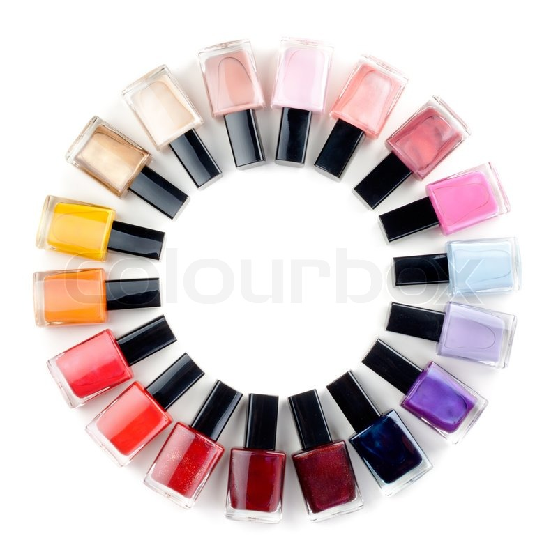 Coloured nail polish bottles stacked circle | Stock Photo | Colourbox