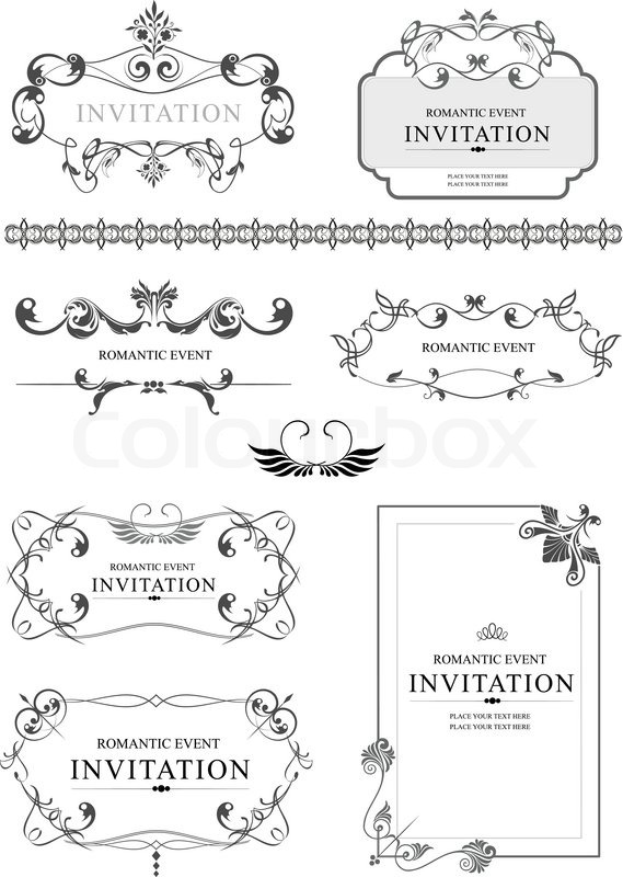 Big collection of ornate vector frames and ornaments with sample big collection of ornate vector frames and ornaments with sample text perfect as invitation or announcement all pieces are separate stock vector stopboris Choice Image