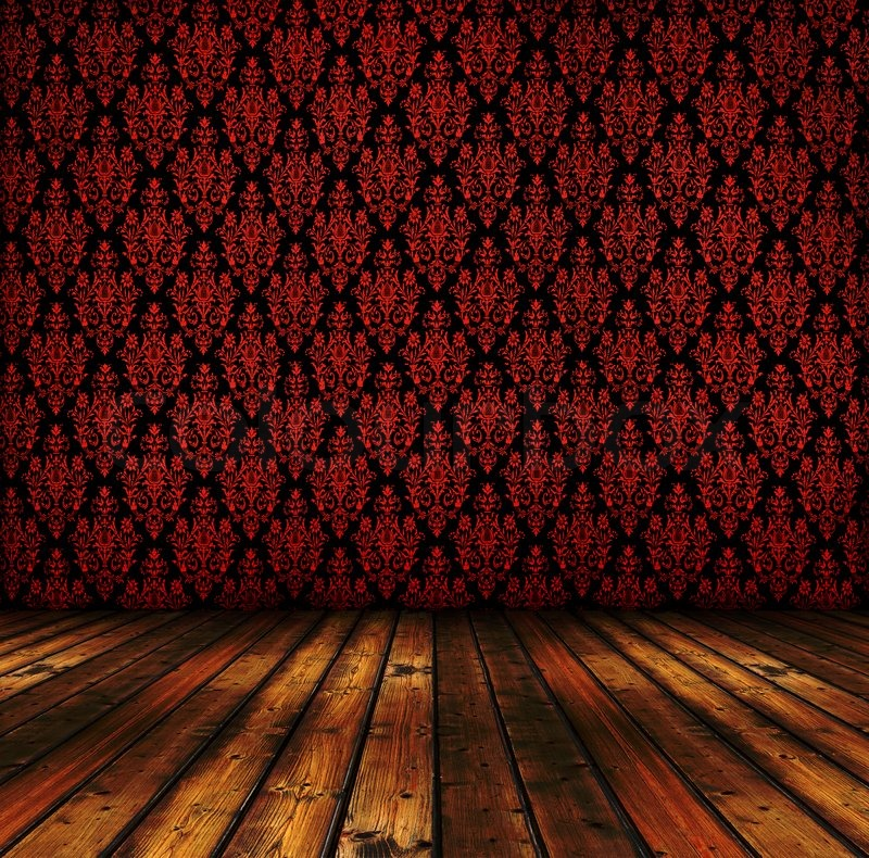 Vintage Red Wallpapers And Wooden Floor Stock Photo Colourbox