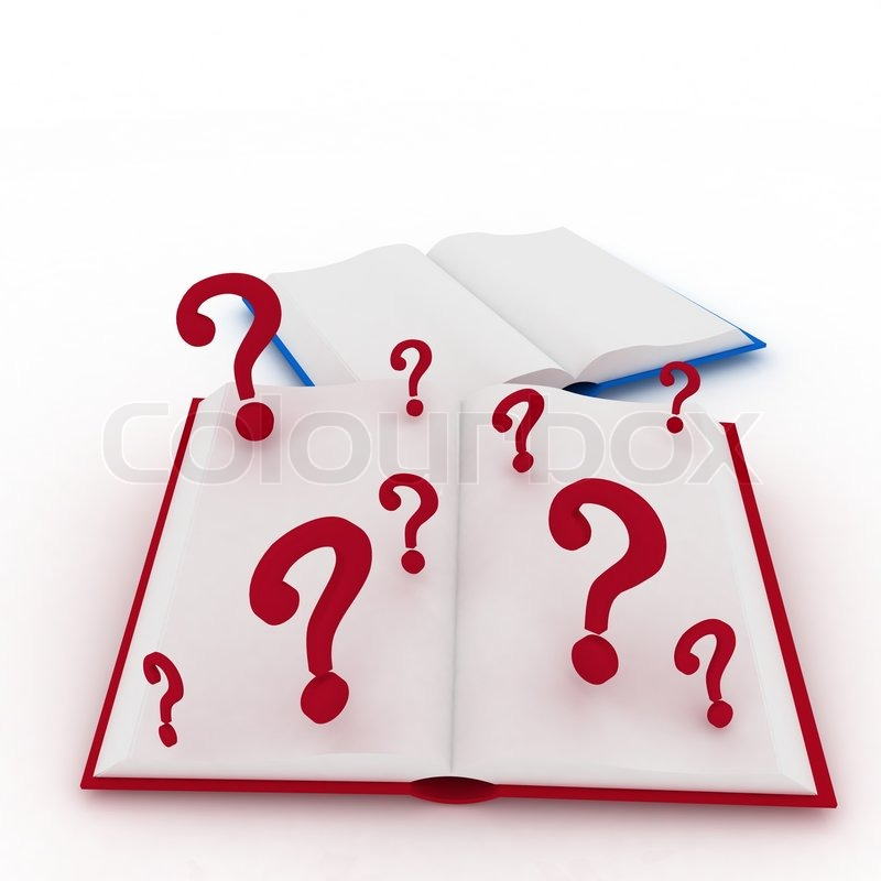 Book Cover Illustration Questions : D render illustration open books and a question marks
