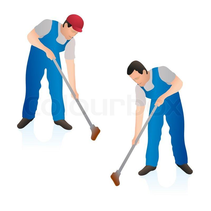Zwei professionellen reiniger abwischen der boden wand mit for Boden cartoon