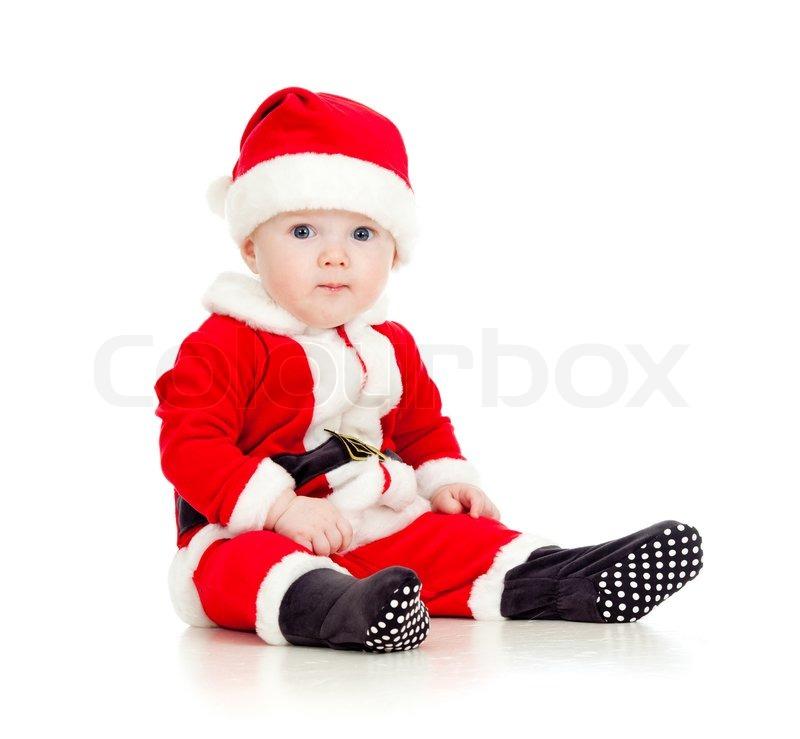 lustige baby im weihnachtsmann kleidung stockfoto. Black Bedroom Furniture Sets. Home Design Ideas