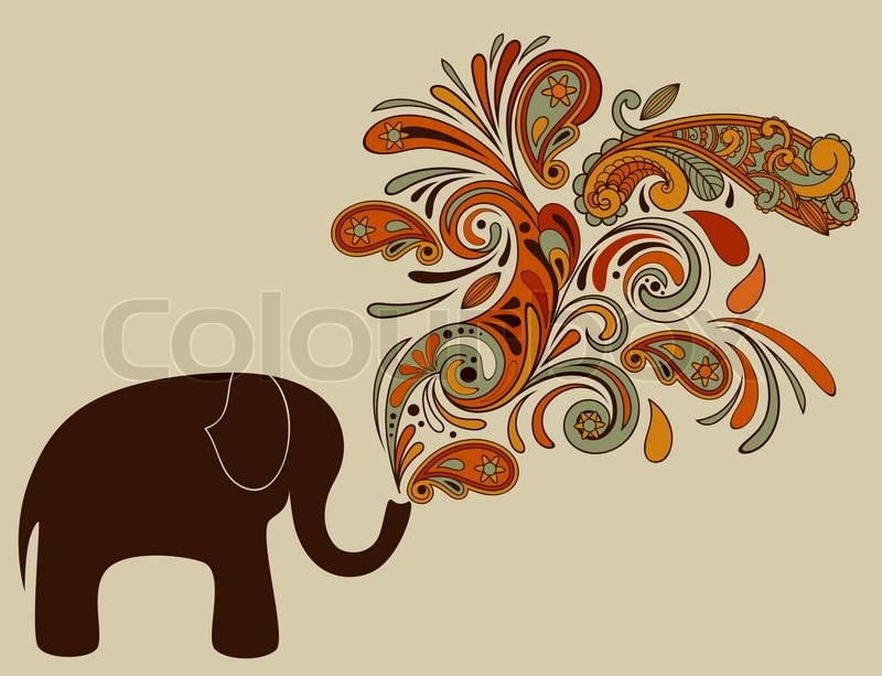 Elephant with Floral Pattern Coming from His Trunk | Stock Vector ...