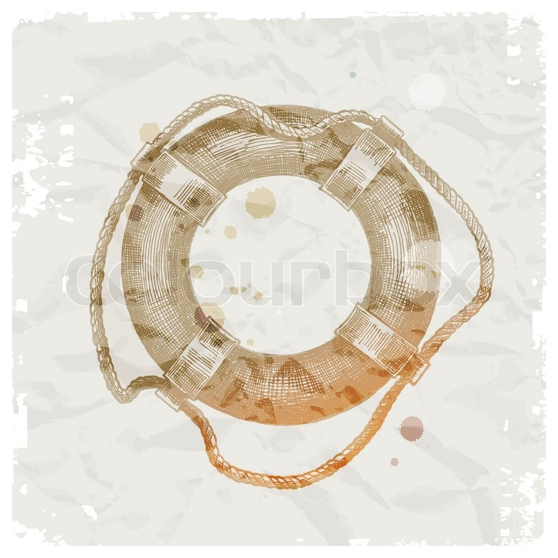 Hand Drawn Lifebuoy On Grunge Paper Background Vector