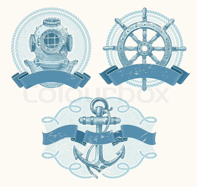 Nautical Vector Emblems With Hand Drawn Elements Old Diving Helmet