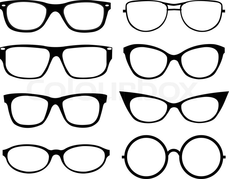 Black Frame Glasses Vector : Set of eyeglasses Stock Vector Colourbox