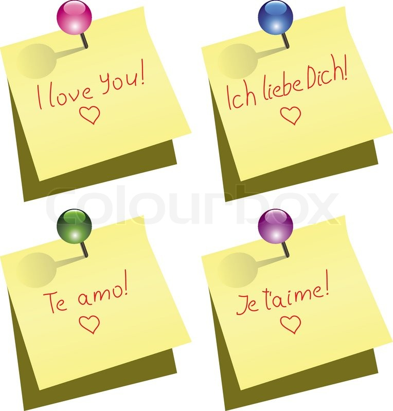 Vector Yellow Paper Notes With Push Pin And I Love You Words In English German Spanish And French Stock Vector Colourbox