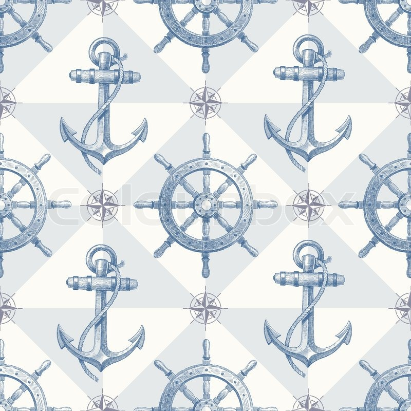 Vector seamless nautical background with hand drawn ...