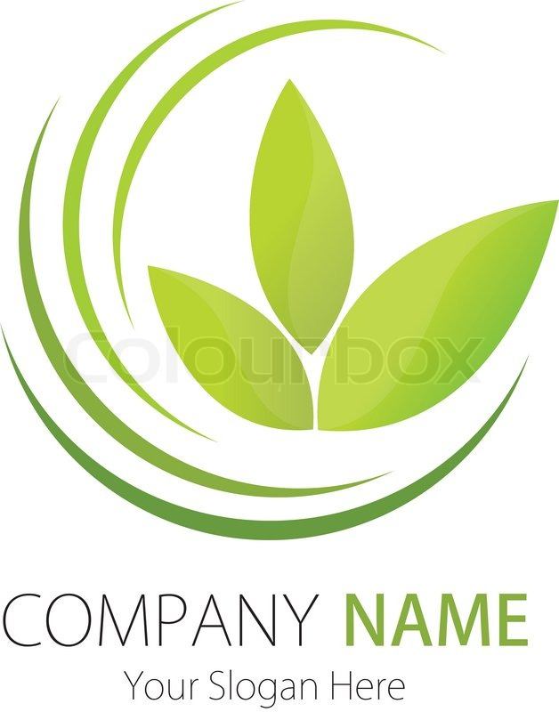 Business Logo Design On Stock Vector Of Company Plant Leaf