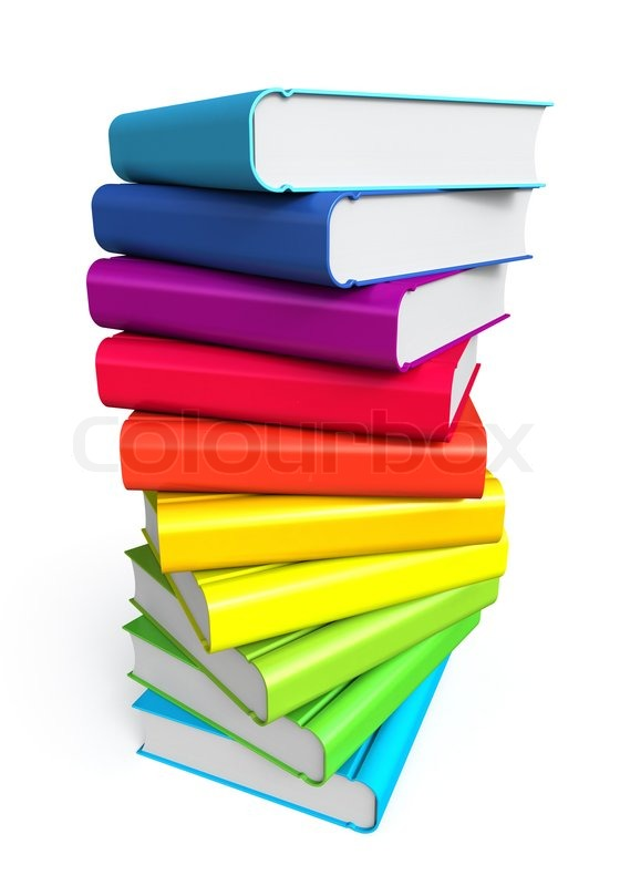 Stack of color books on white background | Stock Photo | Colourbox