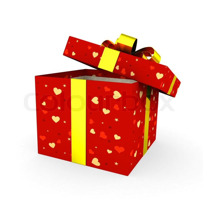 Open red gift box with golden ribbon | Stock Photo | Colourbox