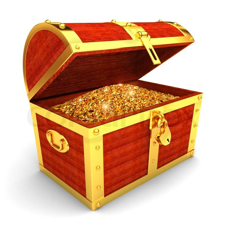 Wooden chest with gold coins | Stock image | Colourbox